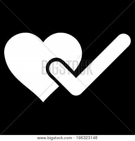 Checked Love Heart flat icon. Vector white symbol. Pictogram is isolated on a black background. Trendy flat style illustration for web site design, logo, ads, apps, user interface.