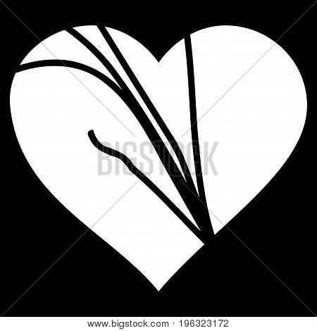 Damaged Love Heart flat icon. Vector white symbol. Pictograph is isolated on a black background. Trendy flat style illustration for web site design, logo, ads, apps, user interface.