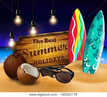 tropical vector background with summer night sky and wooden desk decorated with patio lights coconut surfing boards and sunglasses on a sand beach