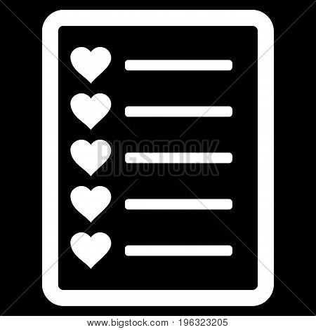 Favourites List Page flat icon. Vector white symbol. Pictogram is isolated on a black background. Trendy flat style illustration for web site design, logo, ads, apps, user interface.