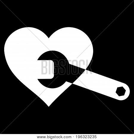 Heart Surgery Wrench flat icon. Vector white symbol. Pictogram is isolated on a black background. Trendy flat style illustration for web site design, logo, ads, apps, user interface.