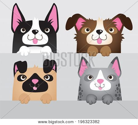 A vector set of 4 cartoon dogs leaning over a wall.
