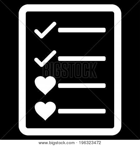 Lovely List Page flat icon. Vector white symbol. Pictograph is isolated on a black background. Trendy flat style illustration for web site design, logo, ads, apps, user interface.