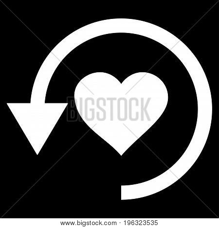 Refresh Love flat icon. Vector white symbol. Pictograph is isolated on a black background. Trendy flat style illustration for web site design, logo, ads, apps, user interface.
