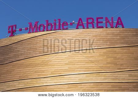 Las Vegas - Circa July 2017: The T-Mobile Arena Located on the Strip. T-Mobile Arena will be the home of the NHL's Golden Knights III