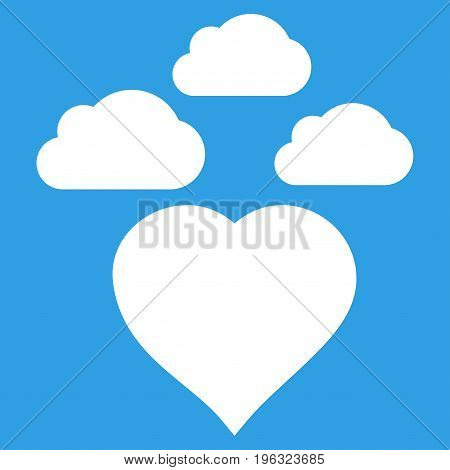 Cloudy Love Heart flat icon. Vector white symbol. Pictogram is isolated on a blue background. Trendy flat style illustration for web site design, logo, ads, apps, user interface.