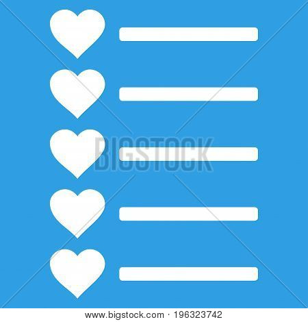 Favourites List flat icon. Vector white symbol. Pictogram is isolated on a blue background. Trendy flat style illustration for web site design, logo, ads, apps, user interface.