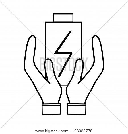 line power electric battery charger in the hands vector illustration