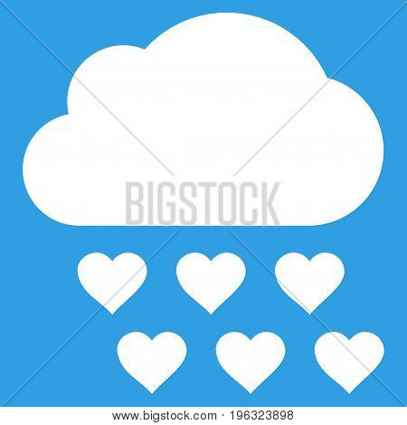 Love Rain Cloud flat icon. Vector white symbol. Pictogram is isolated on a blue background. Trendy flat style illustration for web site design, logo, ads, apps, user interface.