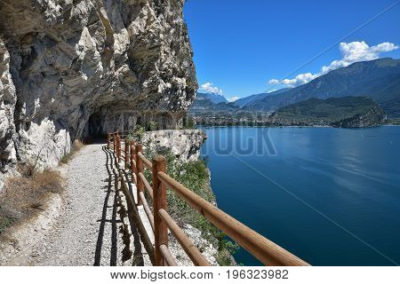 Beautiful Hiking Trail Over Garda Lake With Stunning Views