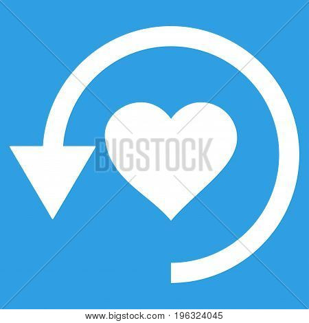 Refresh Love flat icon. Vector white symbol. Pictogram is isolated on a blue background. Trendy flat style illustration for web site design, logo, ads, apps, user interface.