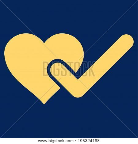 Checked Love Heart flat icon. Vector yellow symbol. Pictograph is isolated on a blue background. Trendy flat style illustration for web site design, logo, ads, apps, user interface.
