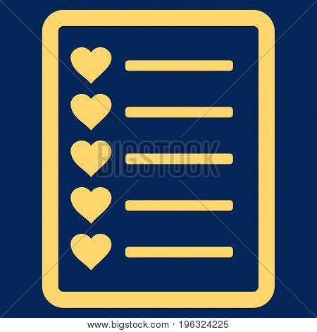 Favourites List Page flat icon. Vector yellow symbol. Pictograph is isolated on a blue background. Trendy flat style illustration for web site design, logo, ads, apps, user interface.
