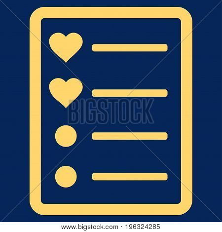 Love List Page flat icon. Vector yellow symbol. Pictograph is isolated on a blue background. Trendy flat style illustration for web site design, logo, ads, apps, user interface.