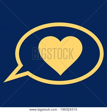 Love Message Balloon flat icon. Vector yellow symbol. Pictogram is isolated on a blue background. Trendy flat style illustration for web site design, logo, ads, apps, user interface.