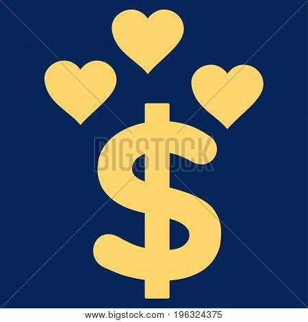 Lovely Dollar flat icon. Vector yellow symbol. Pictograph is isolated on a blue background. Trendy flat style illustration for web site design, logo, ads, apps, user interface.
