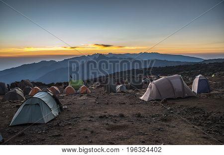 Campsite view in Kilimanjaro Machame route trail Tanzania