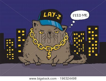 Cartoon drawing of a gangster cat in the ghetto at night