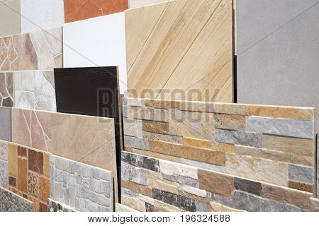 Various ceramic tiles samples close up background