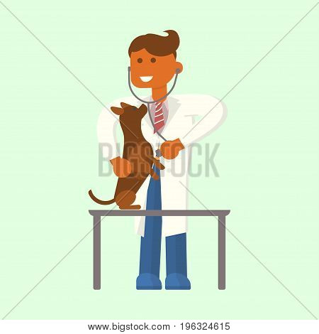 Young male veterinarian examining a dog by stethoscope in vet clinic. Vector flat design illustration isolated.