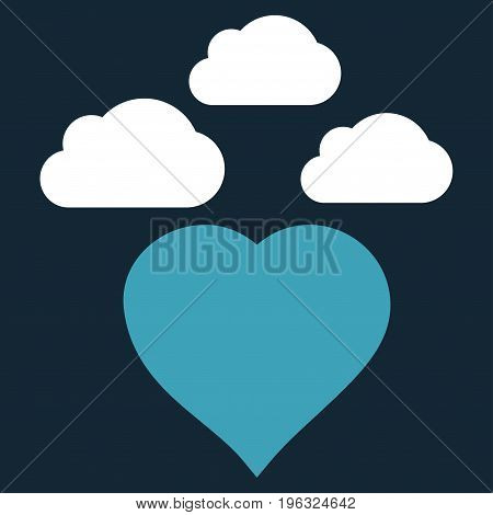 Cloudy Love Heart flat icon. Vector bicolor blue and white symbol. Pictograph is isolated on a dark blue background. Trendy flat style illustration for web site design, logo, ads, apps,