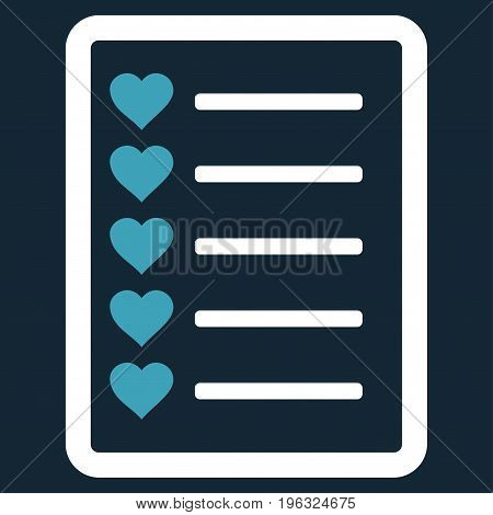 Favourites List Page flat icon. Vector bicolor blue and white symbol. Pictograph is isolated on a dark blue background. Trendy flat style illustration for web site design, logo, ads, apps,