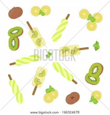 Homemade popsicles with kiwi, mint and lemon on white background. Top view vector illustration eps 10