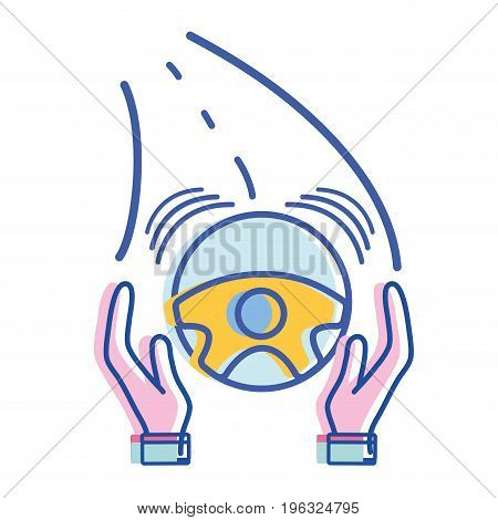 person hands driving steering wheel in the road vector illustration