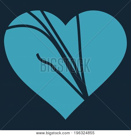 Damaged Love Heart flat icon. Vector blue symbol. Pictograph is isolated on a dark blue background. Trendy flat style illustration for web site design, logo, ads, apps, user interface.