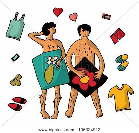 Gay Homosexual naked man couple isolate objects. Color vector illustration. EPS8