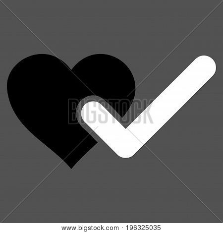 Checked Love Heart flat icon. Vector bicolor black and white symbol. Pictograph is isolated on a gray background. Trendy flat style illustration for web site design, logo, ads, apps, user interface.