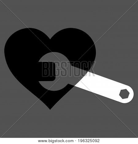 Heart Surgery Wrench flat icon. Vector bicolor black and white symbol. Pictograph is isolated on a gray background. Trendy flat style illustration for web site design, logo, ads, apps, user interface.