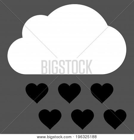 Love Rain Cloud flat icon. Vector bicolor black and white symbol. Pictograph is isolated on a gray background. Trendy flat style illustration for web site design, logo, ads, apps, user interface.