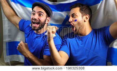 Israeli Friends Celebrating with Israel Flag