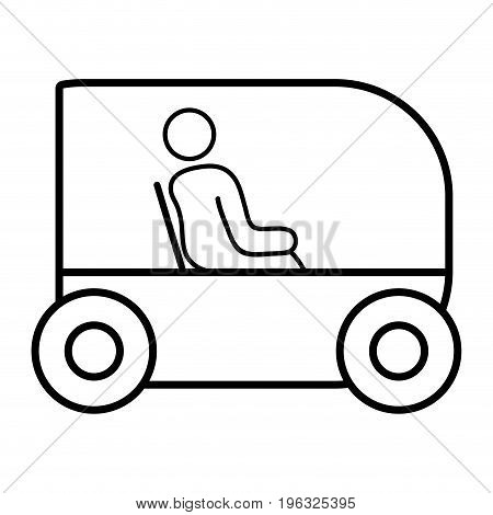 line person seated in the futuristic car innovation vector illustration