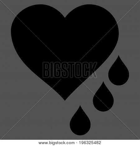 Heart Blood Drops flat icon. Vector black symbol. Pictograph is isolated on a gray background. Trendy flat style illustration for web site design, logo, ads, apps, user interface.