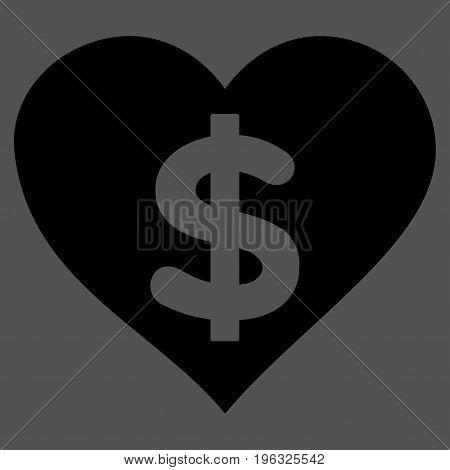 Paid Love flat icon. Vector black symbol. Pictogram is isolated on a gray background. Trendy flat style illustration for web site design, logo, ads, apps, user interface.