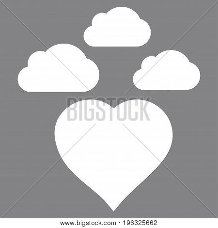 Cloudy Love Heart flat icon. Vector white symbol. Pictogram is isolated on a gray background. Trendy flat style illustration for web site design, logo, ads, apps, user interface.