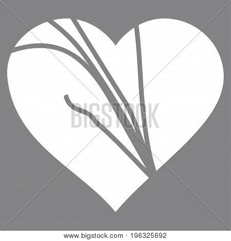Damaged Love Heart flat icon. Vector white symbol. Pictogram is isolated on a gray background. Trendy flat style illustration for web site design, logo, ads, apps, user interface.