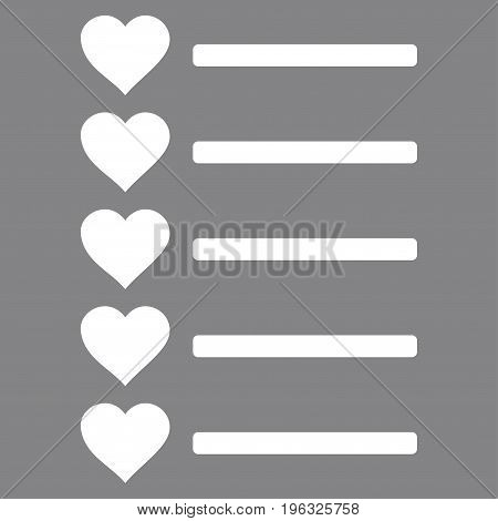 Favourites List flat icon. Vector white symbol. Pictogram is isolated on a gray background. Trendy flat style illustration for web site design, logo, ads, apps, user interface.