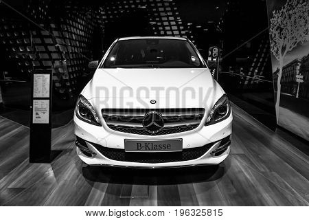 BERLIN - JANUARY 24 2015: A compact luxury car Mercedes-Benz B-Class Electric Drive. Black and white. The first production car with an electric engine. Produced since 2014.