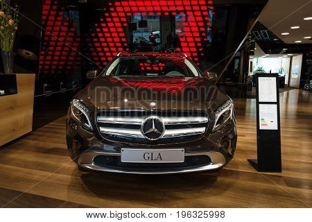 BERLIN - JANUARY 24 2015: Compact executive crossover Mercedes-Benz GLA250 4Matic. Produced since 2013.