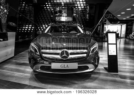 BERLIN - JANUARY 24 2015: Compact executive crossover Mercedes-Benz GLA250 4Matic. Black and white. Produced since 2013.