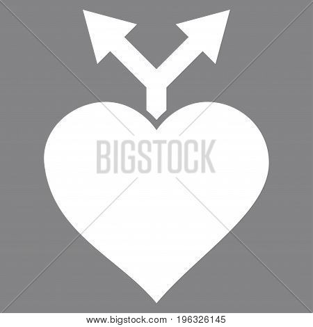 Love Variants flat icon. Vector white symbol. Pictogram is isolated on a gray background. Trendy flat style illustration for web site design, logo, ads, apps, user interface.