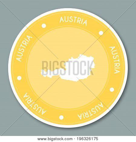 Austria Label Flat Sticker Design. Patriotic Country Map Round Lable. Country Sticker Vector Illustr