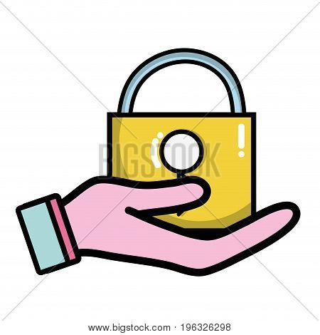 hand with padlock security key to protection vector illustration