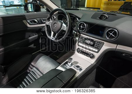 BERLIN - JANUARY 24 2015: Cabin of a sports car Mercedes-Benz SL500 (R231). Produced since 2012.