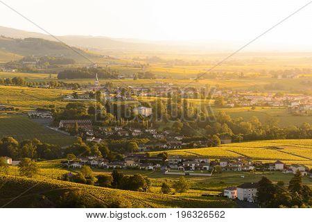 Landscape And Village Of Beaujolais Land At Sunrise