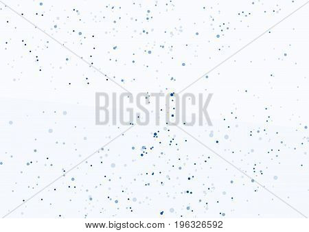 Dot particle layout in blue color abstraction. Hovering graphic dust. Modern halftone powder fog. Vector illustration