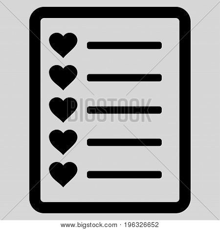 Favourites List Page flat icon. Vector black symbol. Pictogram is isolated on a light gray background. Trendy flat style illustration for web site design, logo, ads, apps, user interface.